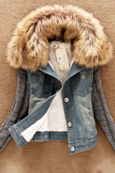2014 new women's spring Autumn short denim jacket women winter slim yarn large fur collar lamb cotton denim outerwear jeans