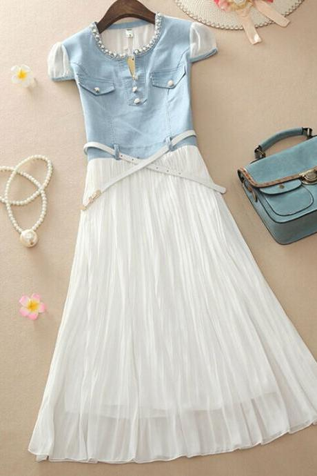 Denim Stitching Chiffon Dress