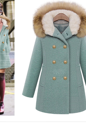 The 2014 women's autumn and winter fur collar double breasted wool coat women slim slim