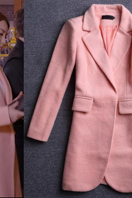 Trendy Pink Wool Coat Woolen Blazer Style Jacket Women Winter Outerwear
