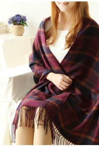 Winter shawl plaid woman scarf