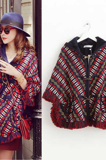 Women wear thickened loose cloak coat color matching wool tassels embroidered Hoodie