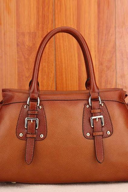 Genuine Leather Handbags Luxury Brown Reddish Leather Tote Bags RCPBG102