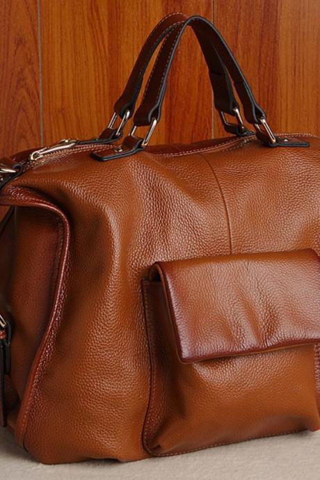 Large Capacity Bags Genuine Leather Handbags Luxury Brown Reddish Leather Bags RCPBG103