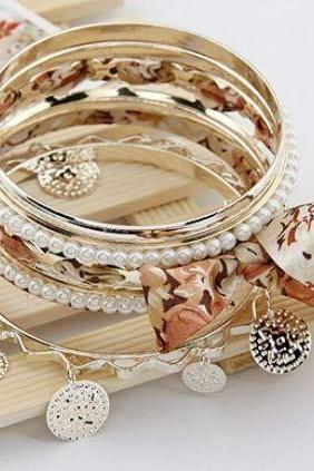 Brown Lace Multilayer Bracelets Brown Beige Floral Bracelets