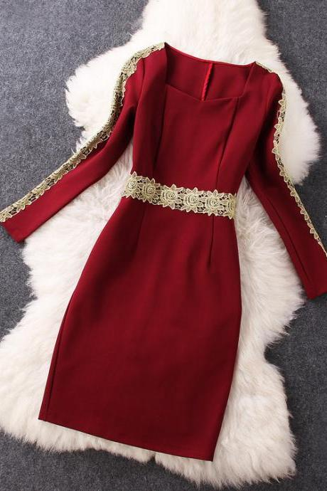 Burgundy Gold Lace Long-sleeved Dress BN1112A