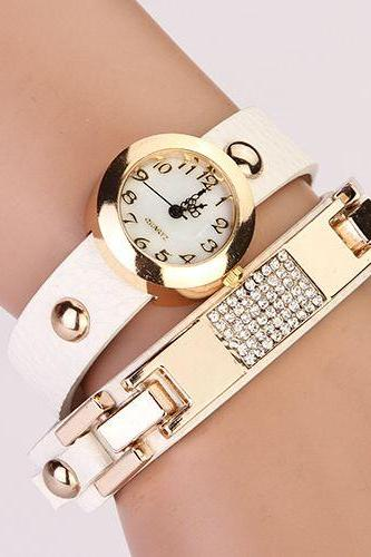 Wrap rhinestones leather fashion woman watch