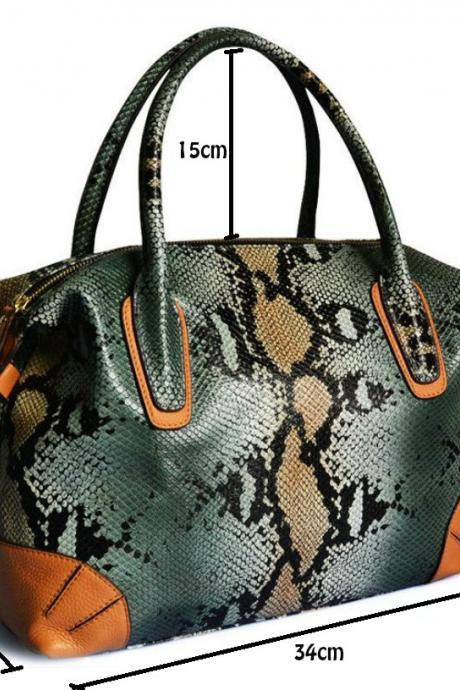 Khaki Genuine Leather Snake Pattern Handbags for Luxury Woman