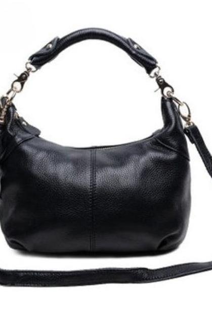 Black Pure Cowhide Leather Small Shoulder Bags with Tassels