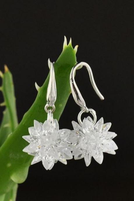 Ice Flower Earrings Pure AAA Big Cubic Zirconia with 925 Sterling Silver Hypoallergenic Earrings