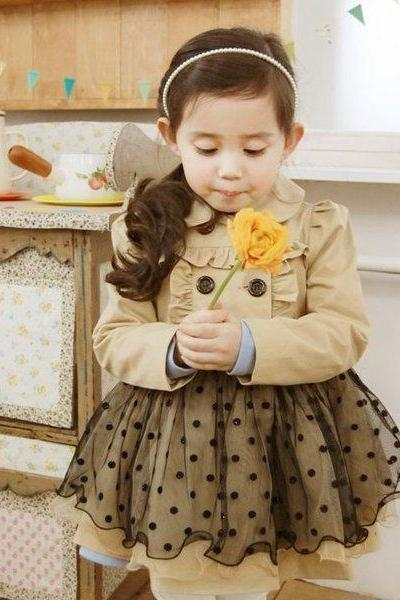 Polka Dots Dres Double Breasted Long Sleeve Brown Polka Dots Outfit for a Cute Little Girls