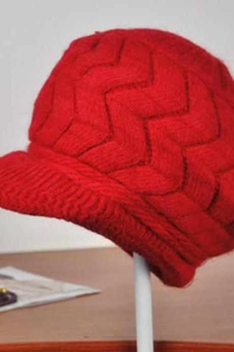 Sweet Red Newsboys Hats Snug Pretty Red Cabled Red Warm Wool Hats for Teens and Women