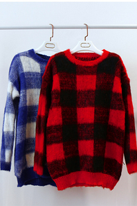 Plaid / Checkered Knitted Sweater - Blue, Red, Yellow