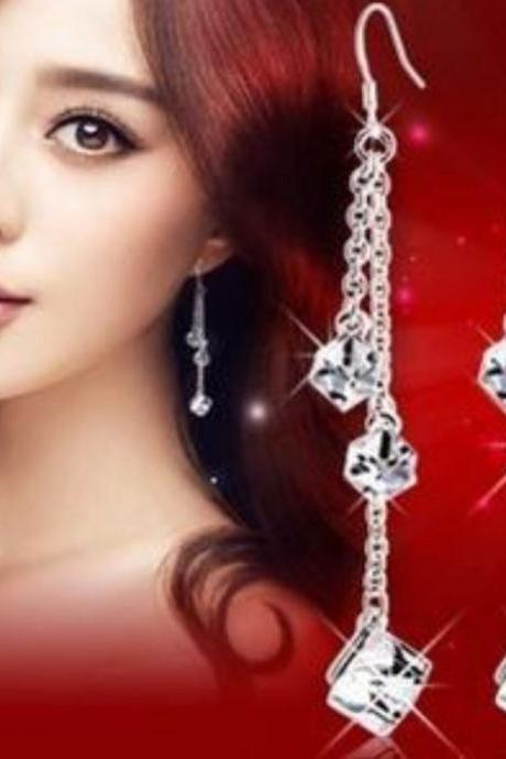 Sparkly Cubic Zirconia 925 Sterling Silver Drop Earrings Double Chains Earrings