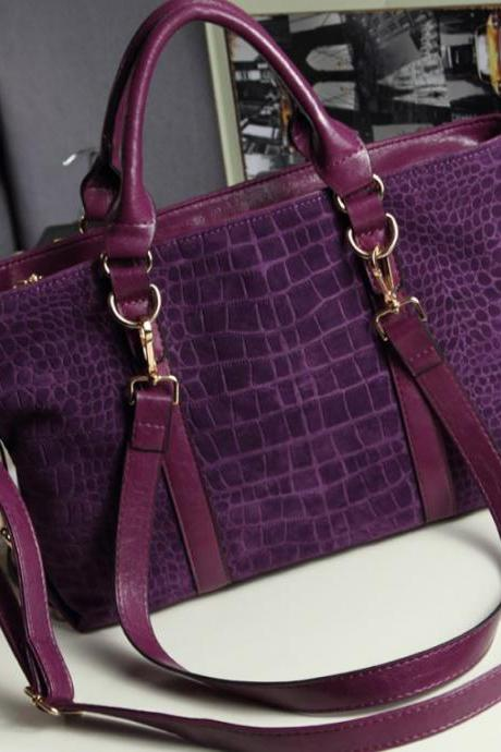 Purple Bag with Crocodile pattern Nubuck Scrub Leather Handbag