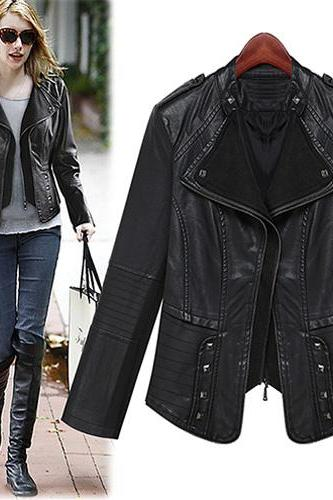 Fashion Rivets Stand Collar Slim Fit Leather Coat Jacket