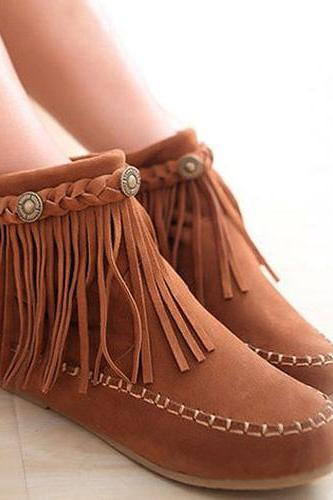 Fashion Tassels Round Toe Inner-Increased Boots Booties