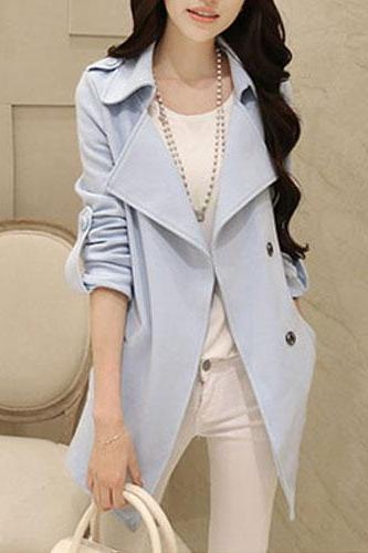 Ol Style Elegant Solid Color Medium-Long Coat