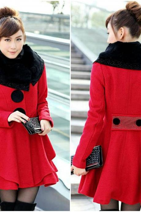 Faux Fur Design Classy Red Winter Coat