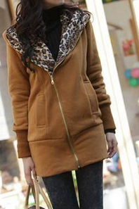 Casual Long-sleeved Hooded Leopard Sweater Coat Thick