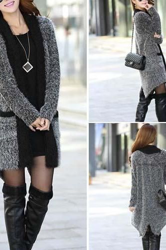Fashion Lapel Long Sleeve Irregular Hem Knitting Cardigan