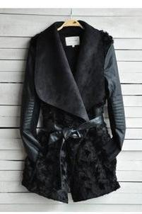 Fur Coat Slim PU Leather Jacket