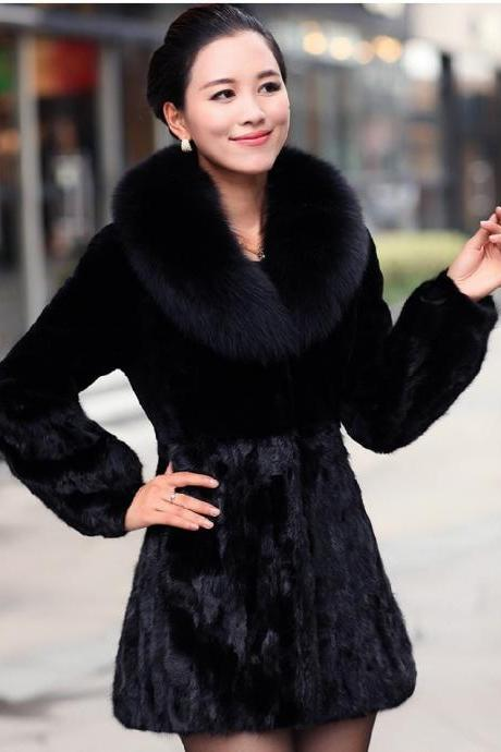 2014 Winter Coat Women Imitation Rabbit Fur Black Bold Coat Faux Fox Fur Collar
