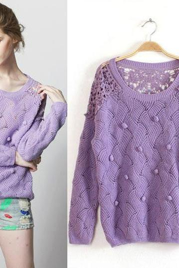 New Sweet Lace Crochet Wool Ball Purple Sweater &Knitting