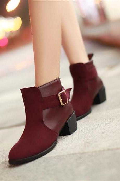 Stylish Chunky Heel Ankle Boots In Red