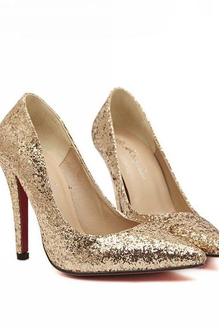 Pointed Toe Metallic Glittery High Heel Pumps