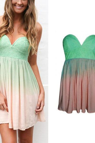 Gradient sexy deep V halter chiffon dress