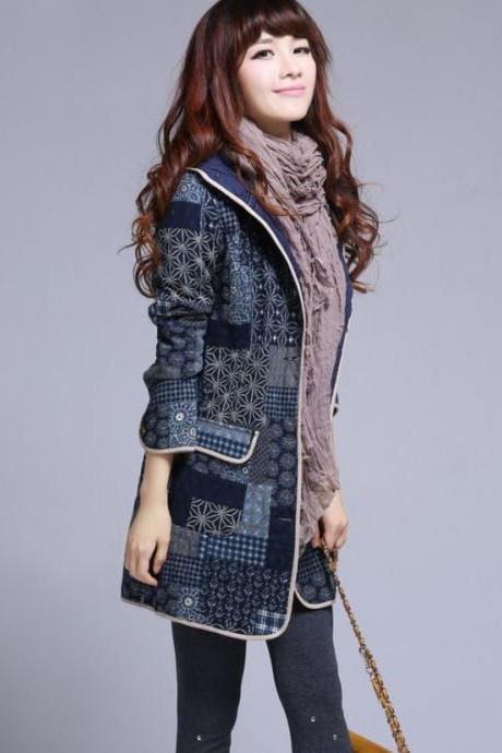Casual Jackets with Hood Printed Floral Long Plaid Patchwork Sewing Designs