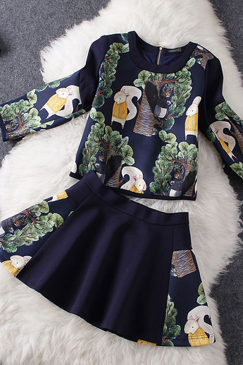 European and American cartoon squirrels printing shirt + skirt pants suit