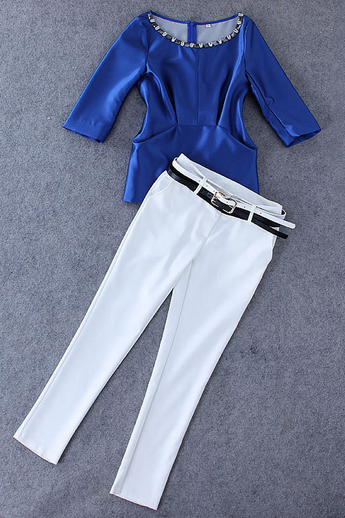 Women's new export diamond fold jacket + double belt solid colored trousers leisure suit