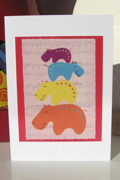 Greeting Card - Hippo Musical Statues