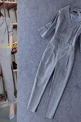 Women's fashion temperament grey suit 7 Quarter Sleeve Jumpsuit