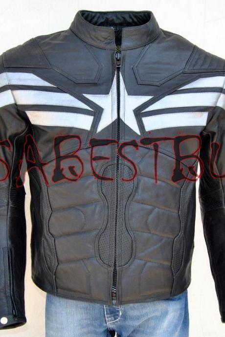 Handmade Chris Evan Captain America Costume Pure Leather Biker Jacket Paded Latest
