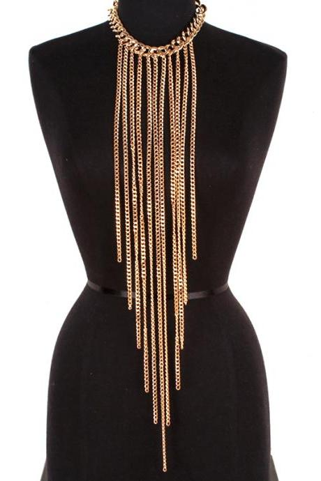 Multi Strand Gold Chain Necklace, Long Link Chain Necklace