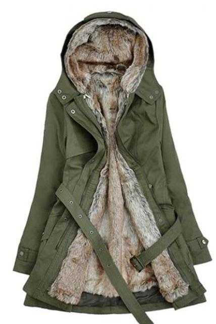 Stylish Faux Fur Lined Warm Winter Coat In Army Green