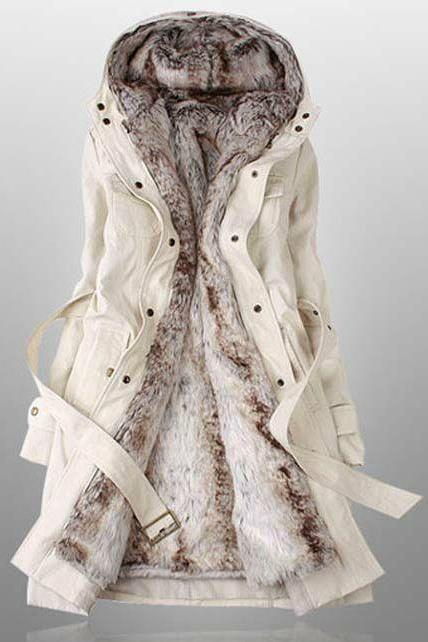 Faux Fur Lined Warm Winter Coat In Beige