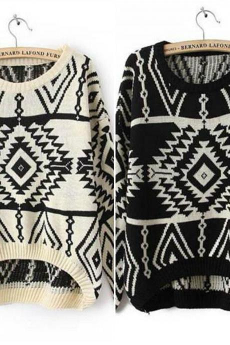 Tribal Pattern Knitted Pullover Sweater In 3 Colors