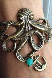 Octopus Bracelet, Anchor charm Bracelet - Antiqued Brass Vintage Style Nautical Victorian Steampunk Large Lightweight Gothic Victorian