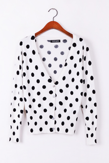 Women's slim black dots are printed knit cardigan