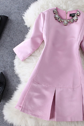 Women's new collar diamond chain 7 point sleeve solid fine dress