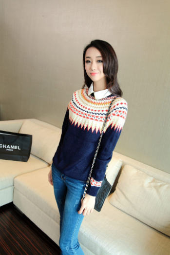 Women's new long sleeved sweater female diamond color jacquard bottoming sweaters jacket