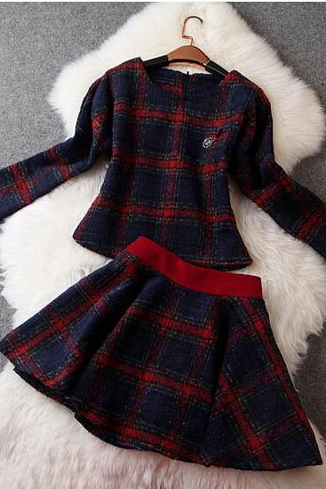 Plaid Woolen Jacket + Excellent Temperament Skirt ( Two-Piece )
