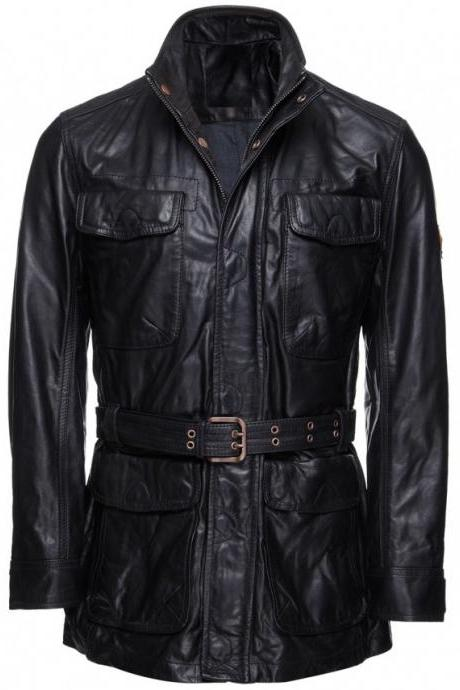 Handmade Custom New Men Latest Stylish Belted Long Leather Jacket, men leather jacket, Leather jacket for men, Biker Leather Jacket, Motorcycle Jacket