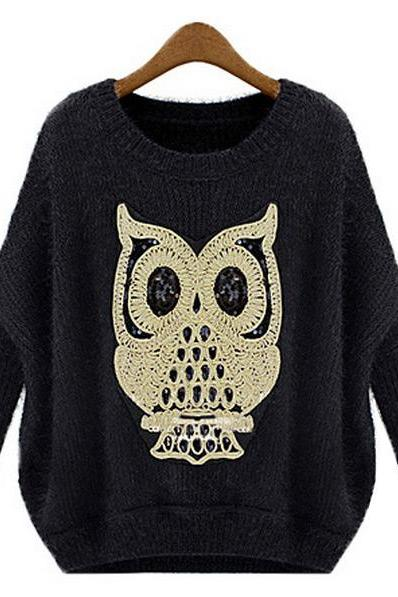 Loose Owl Pattern Sweater