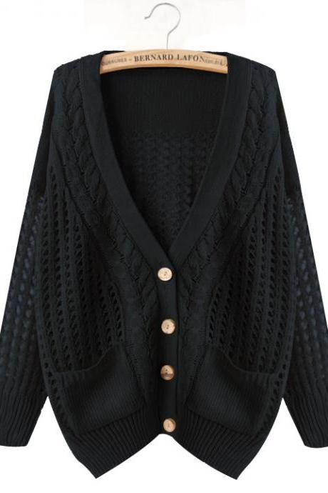 Women's V-neck Hollow Out Loose Batwing Sleeve Knitwear Cardigan