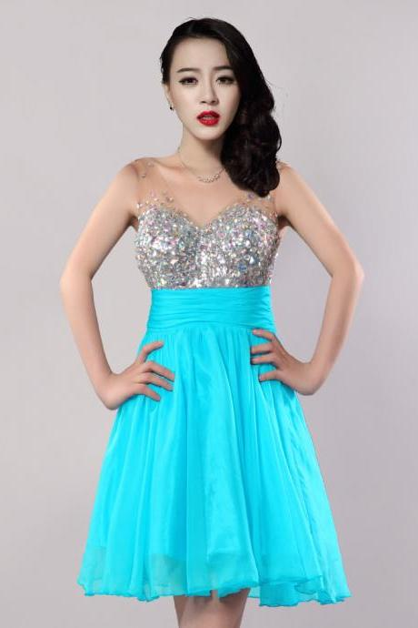 Sexy V-Neck Sleeveless A-Line Chiffon Prom Dress Cocktail Party Dress For Women